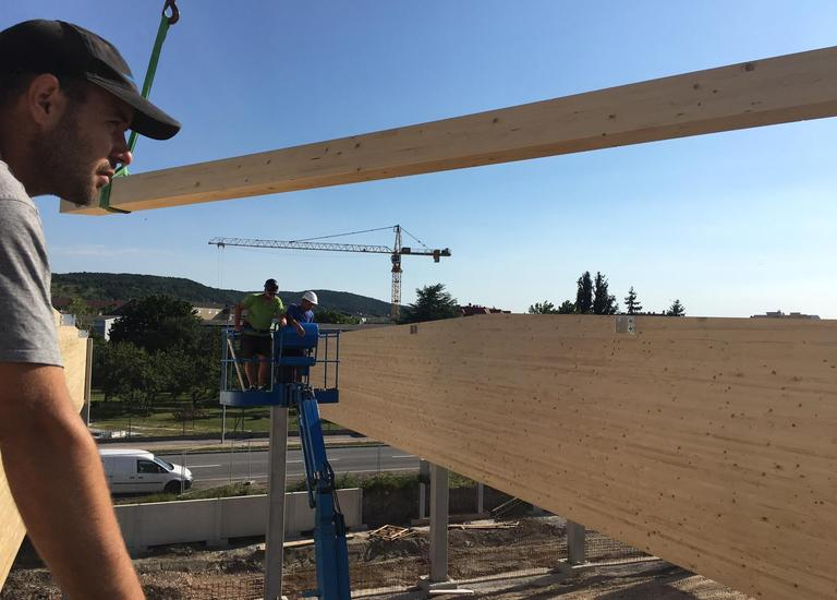 Errichtung der neuen Fertigungshalle Gollubits