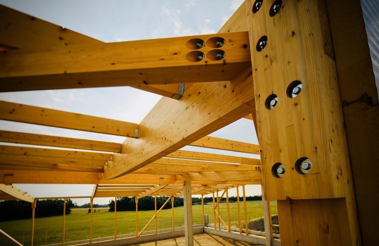 Errichtung Holzhalle - Träger